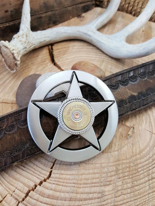 Lone Star - 12 Gauge Shotshell Silver Belt Buckle