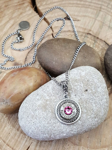 Breast Cancer Awareness - Petite 9mm Silver Bullet Necklace - PINK Crystals