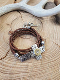 Triple Wrap Leather Silver Cross Bullet Bracelet-SureShot Jewelry