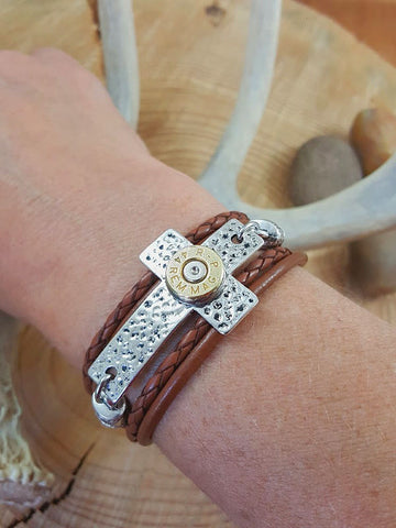 Triple Wrap Leather Silver Cross Bullet Bracelet