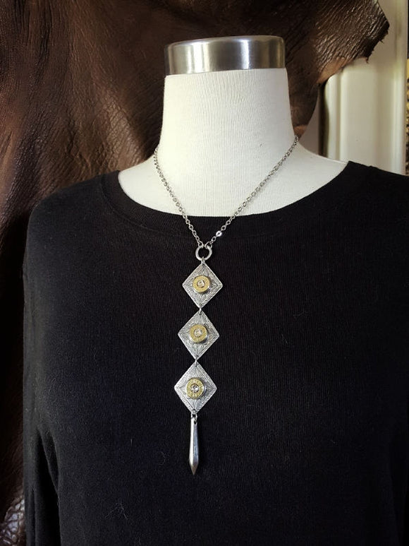 Triple Diamond Pendant Lariat Style Bullet Necklace