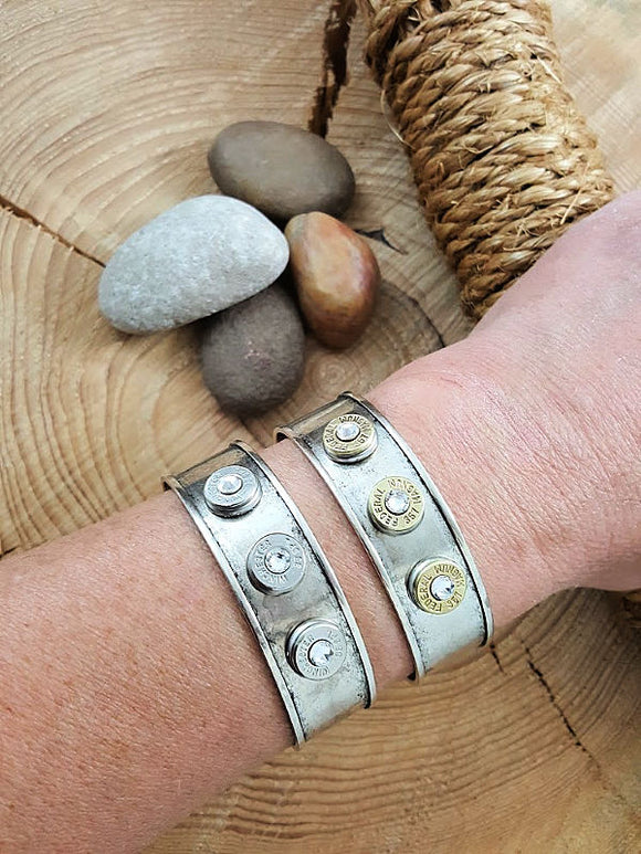 Slim Style Triple Bullet Metal Smooth Channel Cuff Bracelet-SureShot Jewelry