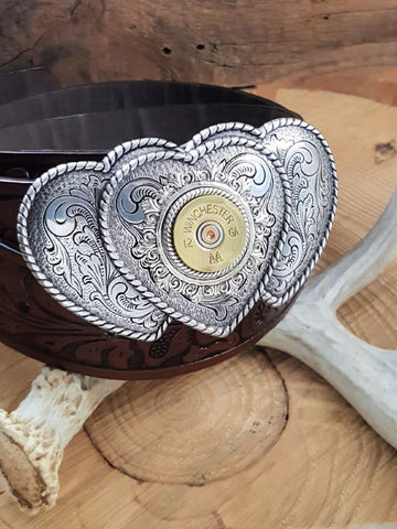 Triple Western Style Rope Edge Hearts with 12 Gauge Shotshell Belt Buckle