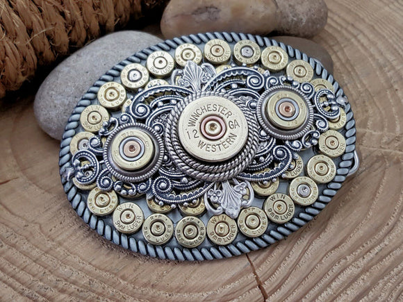 Shotshell & Bullet Oval Belt Buckle - BEST SELLER!