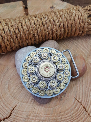 Round Bullet & Shotshell Western Smooth Edge Belt Buckle
