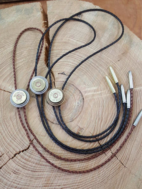 12 Gauge Shotshell Rope Bezel Leather Bolo Tie - Unisex-SureShot Jewelry