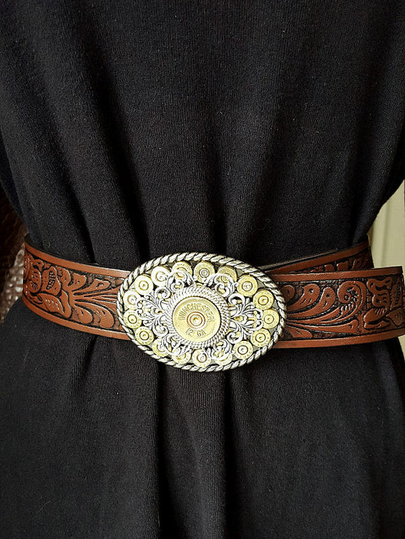 Small Oval Bullet & Shotshell Western Belt Buckle