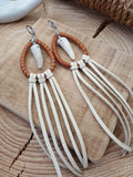Leather Wrapped Teardrop Antler Tip Fringe Earrings-SureShot Jewelry