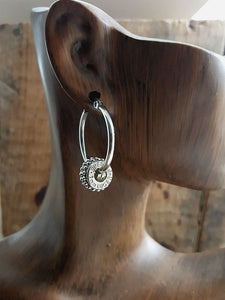 9mm Studded Stainless Petite Bullet Hoop Earrings - Choice of Brass or Nickel Casings-SureShot Jewelry