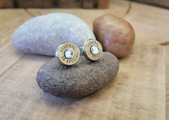 Bullet Studs - Brass Bullet Earrings - ALL CRYSTAL COLORS!-SureShot Jewelry