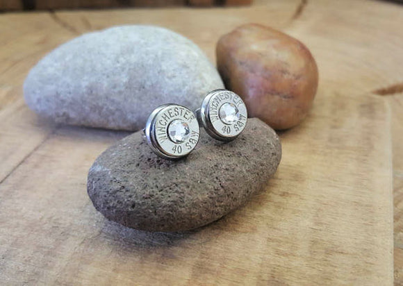 Bullet Studs - Nickel Bullet Casing Diamond Earrings-SureShot Jewelry