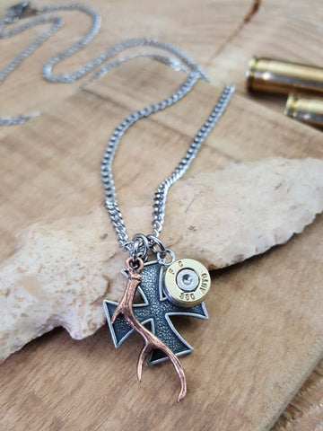 Men's Maltese Cross, Antler and Bullet Necklace