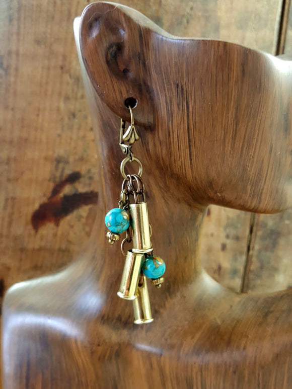 Triple 22 Turquoise Beaded Bullet Earrings