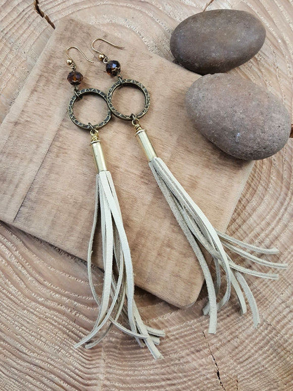 22 Caliber Brass Buff Deerskin Should Duster Bullet Earrings-SureShot Jewelry