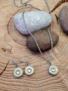 Jewelry Set - Stainless Bullet Necklace & Earring Set-SureShot Jewelry