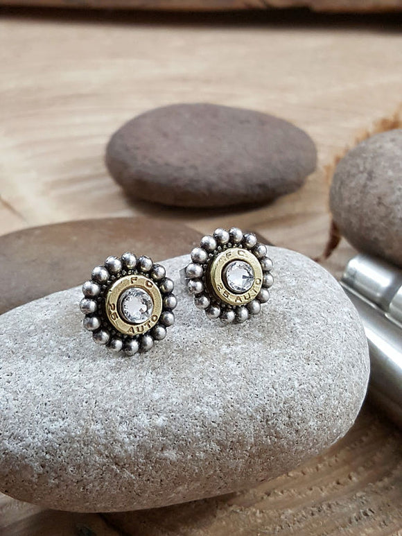 Petite Beaded Bezel Bullet Earrings - Bullet Studs - 25 Auto
