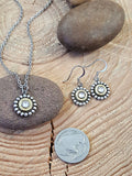 Jewelry Set - Petite Round Beaded Bezel Bullet Necklace & Earring Set - 25 Auto-SureShot Jewelry
