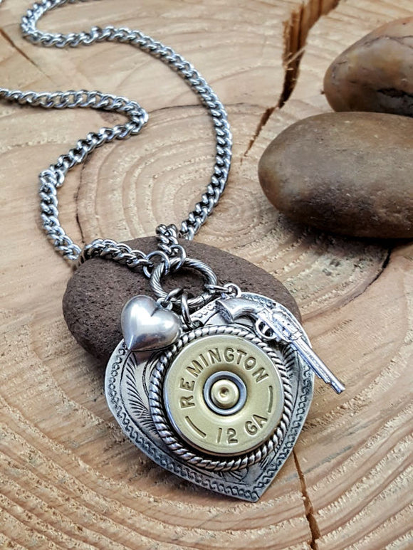 12 Gauge Shotshell Heart Necklace - Shot Thru the Heart Bullet Necklace