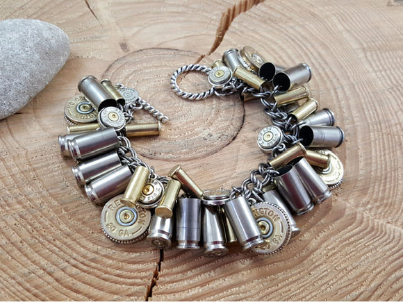Mixed Metal Loaded Bullet & Shotshell Bracelet-Bracelets-SureShot Jewelry
