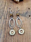Double Oval Fine Stainless Ring Gold Beaded Brass Bullet Dangles-SureShot Jewelry