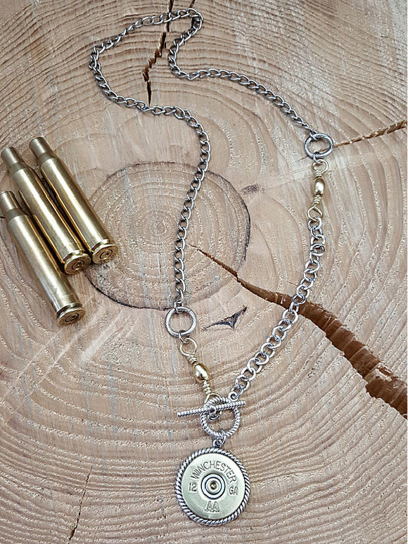 Bullet Necklace - 12 Gauge Shotshell Toggle Medallion Mixed Metal Necklace-Necklace-SureShot Jewelry