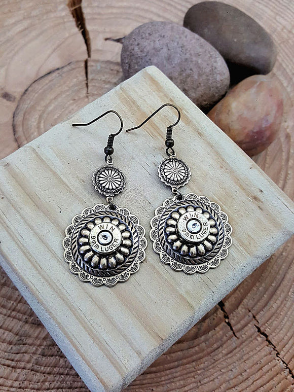 Round Brass Concho Bullet Earrings-SureShot Jewelry