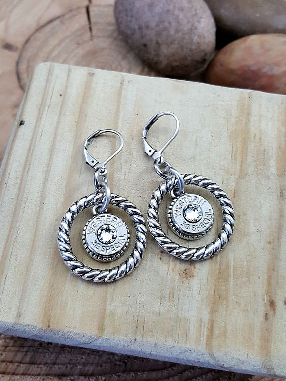 Round Rope Ring Bullet Earrings-SureShot Jewelry