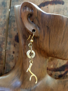 Deer Antler Charm Brass Bullet Earrings-SureShot Jewelry
