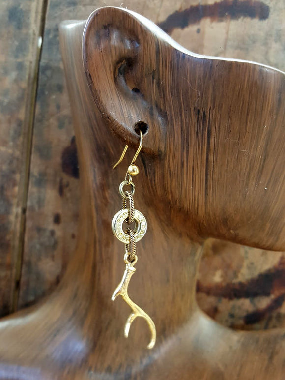 Deer Antler Charm Brass Bullet Earrings