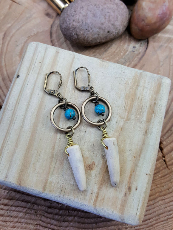 Petite Antler Tip Turquoise Beaded Brass Dangle Earrings