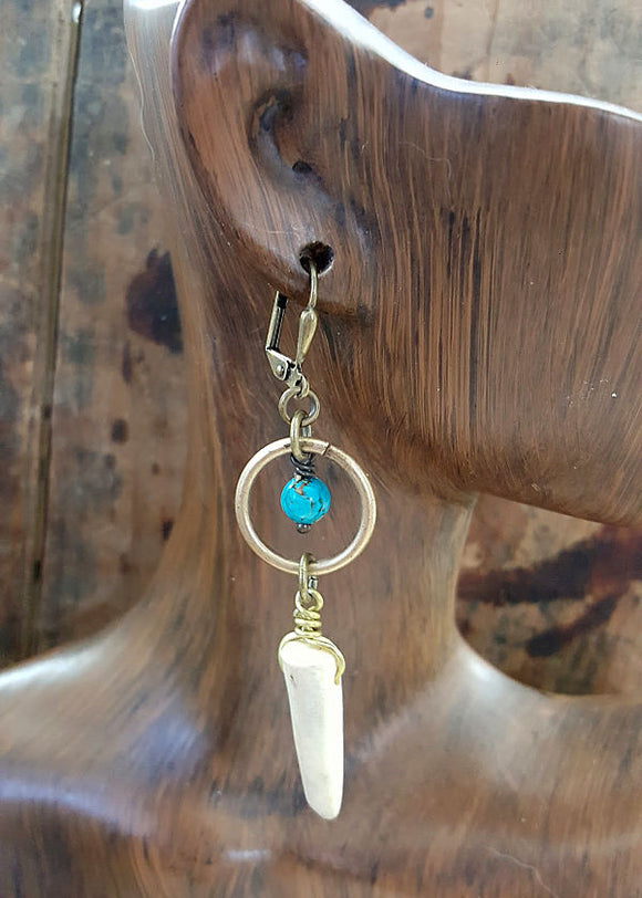 Petite Antler Tip Turquoise Beaded Brass Dangle Earrings-SureShot Jewelry