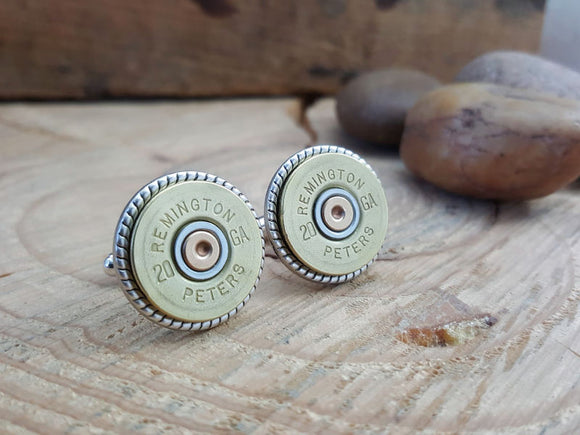 Brass Vintage 20 Gauge Shotshell Cuff Links-SureShot Jewelry