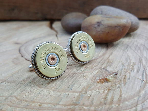 Brass 20 Gauge Shotshell Cuff Links