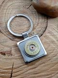20 Gauge Shotshell Square Stainless Silver Key Ring-SureShot Jewelry