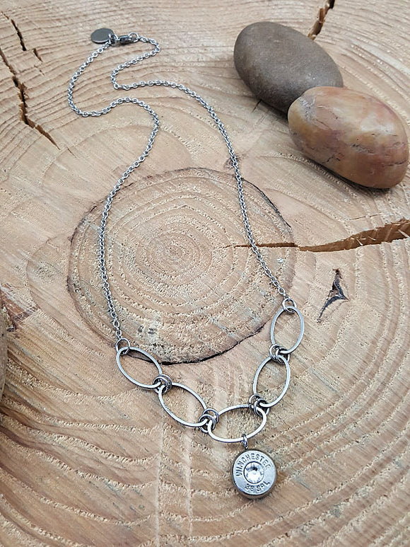 Oval Link Minimal Bullet Necklace - 10mm Bezel-SureShot Jewelry