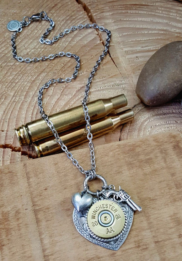 20 Gauge ShotShell Heart Necklace - Shot Thru the Heart Bullet Necklace
