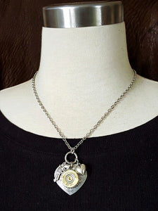28 Gauge ShotShell Heart Necklace - Shot Thru the Heart Bullet Necklace-SureShot Jewelry