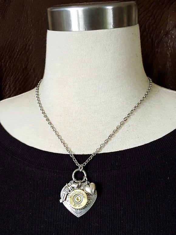 28 Gauge ShotShell Heart Necklace - Shot Thru the Heart Bullet Necklace