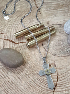 Stainless Steel Cross Bullet Necklace - Unisex-SureShot Jewelry