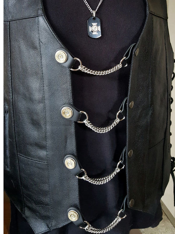 Vest Extenders - Biker Accessories - Men's 12 Gauge Shotshell Chain Vest Extenders-SureShot Jewelry