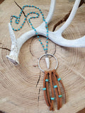 Antler Tip in Hoop Turquoise Beaded Chain Fringe Necklace-SureShot Jewelry