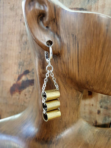 Triple Brass 25 Auto Stacked Tube Style Chain Bullet Earrings-SureShot Jewelry