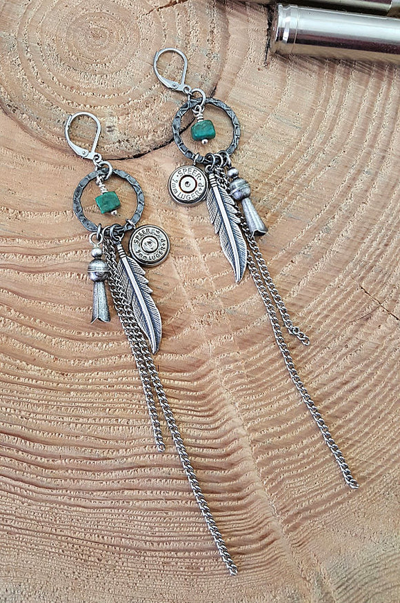 Western Boho Style Squash Blossom, Feather & Turquoise Bullet Earrings