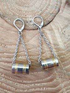 Nickel 9mm Tube Style Chain Bullet Earrings-SureShot Jewelry