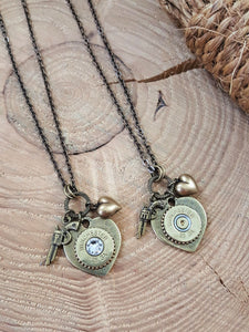 28 Gauge Shotshell Shot Thru the Heart Brass Bullet Necklace-SureShot Jewelry