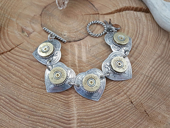 28 Gauge Heart Shape Shotshell Bracelet-SureShot Jewelry