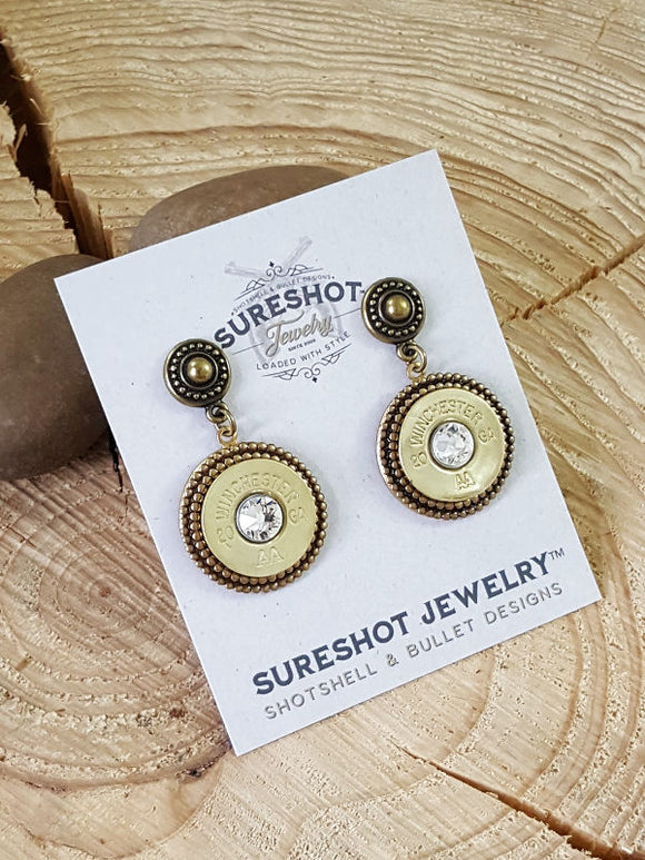 20 Gauge Shotshell Brass Post Dangle Earrings