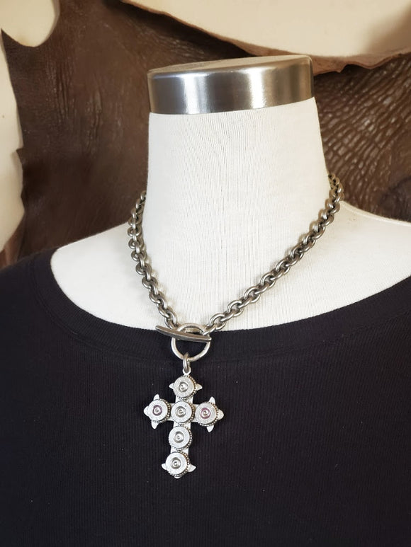Gothic Style Bullet Cross Statement Necklace
