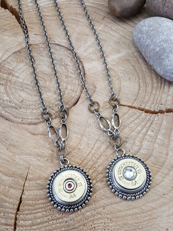 Bullet Necklace - Beaded Bezel 20 Gauge Shotshell Necklace