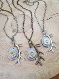 Antler Jewelry - Antler Slice Shotshell Bullet Necklace-Necklace-SureShot Jewelry